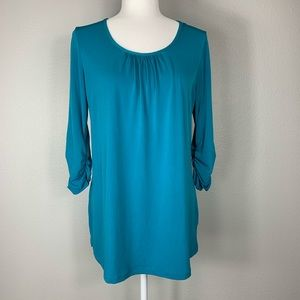 Turquoise 3/4 Ruched Sleeve Top
